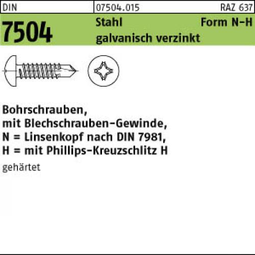 Bohrschraube Schraube Sechskant Blechschraube DIN 7504 K Stahl verzinkt